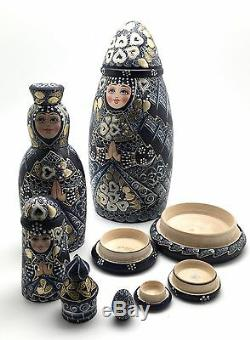 10.5 Tall Unique Shape Russian Princess Nesting Doll Hand Painted Signed