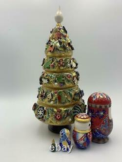 10 5 pieces Russian Nesting doll Christmas Tree Wooden Matryoshka Hand-painted