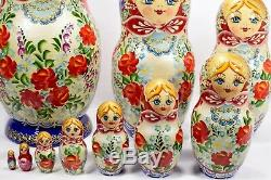 10 Big Authentic Russian Matryoshka Author's Nesting Dolls 10 Piece Set 10pcs