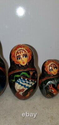 10 PCS SIGNED BY ARTIST RUSSIAN NESTING DOLLS MATRYOSHKA fairy tale story castle