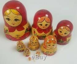 10 Pcs Russian Hand Painted Nesting Doll Magnificent Matryoshka 1992