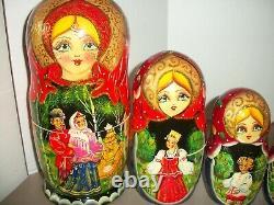 10 Piece Matryoshka Russian Fairy Tale Nesting Dolls10H