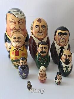 10 Political Nesting Russian Doll Matrioshka Matryoska Soviet Leaders Hand Paint