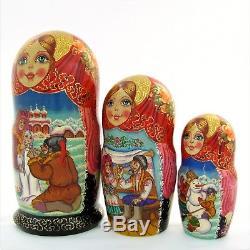 10 Poupées Russes H28 peint main signé Matriochka Russian Nested Doll Matrioshka
