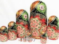 10 Poupées russes H26 peint main signé Matriochka Gigognes Russian Nested Doll
