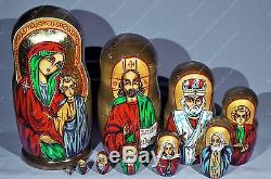 10 Religious Russian Matryoshka Icon Virgin Mary Christ nesting dolls 10pcs