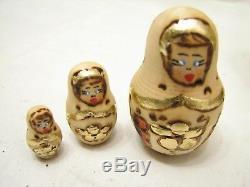 10 Wooden Russian Matryoshka Nesting Doll 8-1/2 Signed Hand Made Ornate Gold