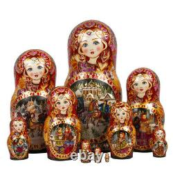10 pc LARGE NESTING DOLL, RUSSIAN WINTER TROIKA COLLECTIBLE MATRYOSHKA
