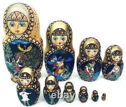 10 pc Russian Matryoshka Nesting Doll Ceprueb Nocag 9 Hand Painted Signed GIFT