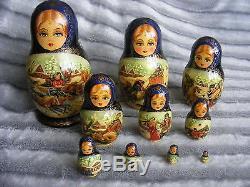 10 pcs Winter Troika Sergiev Sergiyev Posad Russian Nesting Dolls Matryoshka