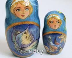 10pcs Hand Painted One of a Kind Russian Nesting Doll Vikings by Frolova