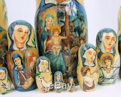 10pcs Hand Painted One of a Kind Russian Nesting Doll of Christ's Nativity