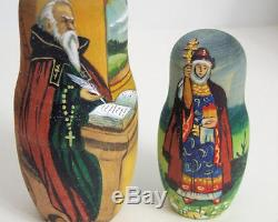 10pcs Hand Painted Russian Nesting Doll Exclusive Knights by Semenova