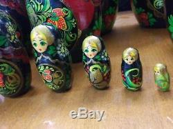 11 Vintage Russian Hand Painted 13 pc Matryoshka Russian Nesting Dolls SIGNED