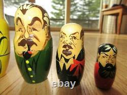 11m/vintage Russian Ussr Presidents/nesting Dolls/matryoshka/yeltsin/7 Pcs