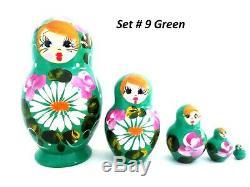 12 Russian Hand Painted Nesting Doll Matryoshka 5 pcs Sets Wholesale Bulk Price