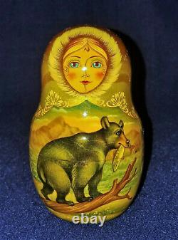 13 Pc RUSSIAN Nesting Dolls GIRL WITH BEARS Wood hand painted SIGNED Matryoshka