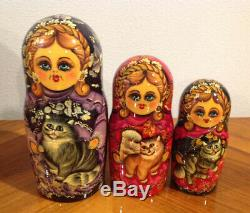 14 OOAK Russian Matryoshka 15 Nest Doll CATS Crafts Hand Painted by Chirkova