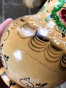 15 Pcs Matryoshka Russian Nesting Doll Signed Wooden Hand Gold Painted Babushka