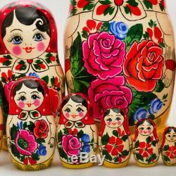 15-pc Traditional Russian Nesting Doll with Floral Pattern SEMENOVSKAYA matryoshka