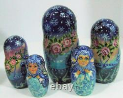 15pcs Hand Painted One of a Kind Russian Nesting Doll Snowqueen