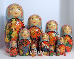 15pcs Hand Painted Russian Nesting Doll One of a Kind Sadko by Smirnova