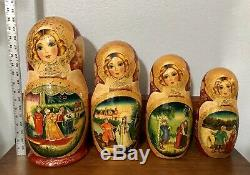 17 Signed Russian Nesting Dolls Matryoshka Hand Painted Gold Trimmed 18 Pieces
