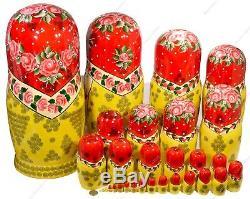 18 Big 30 Russian Traditional Matryoshka Authentic Nesting Dolls Semyonov 30pc8