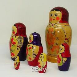 1966 USSR Russian Nesting Dolls Vintage Set of 6 Nrpywka Matryoshka Original Tag