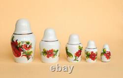 1980' Big Vintage Ukrainian Korosten Porcelain Statue Figurine 5 Nesting Dolls