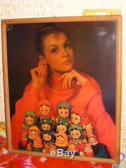 1980 Russian Soviet Portrait Wood Laminate Famous Artist Matryoshka Nesting Doll