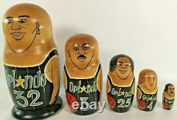 1993 Orlando Magic Russian Nesting Dolls SHAQ Hand Painted NBA Basketball VTG