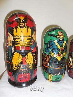 1994 X-MEN Russian COLLECTIBLE Nesting Matryoshka Dolls 7 Piece Figure Set Lot