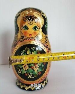 1994r 10 Pc Matryoshka Russian Artist Signed Hand painted Babushka Nesting Dolls