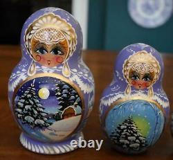 1995 Russian 10 Doll Matryoshka Nesting Doll #6 Winter Scenes Lavender Florals