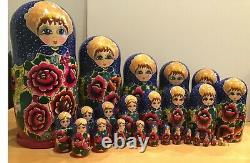 27 pc ClassicalTraditional Russian Nesting Doll Red RosesHand Painted 17H