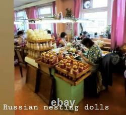 28pc Nesting Doll Matryoshka XL SET HUGE RUSSIAN DOLLS Semenov Yellow Red Flower