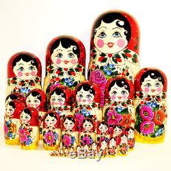 30 pcs traditional russian babushka doll semyonovskaya semenovo handpainted gift