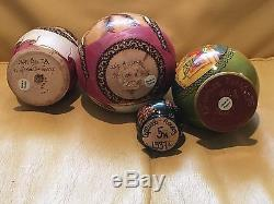 4 Russian Hand Painted Wood Sergiyev Posad Nesting Dolls Matryoshka Roly Poly