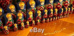 50 pc Rare Giant Russian Nesting Traditional Doll FlowersHand Painted 26.5H
