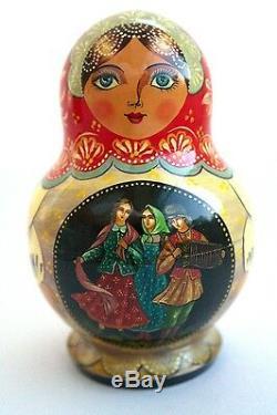5Pcs Signed Matryoshka Russian Fairy Tale Nesting Doll Magnificent #125