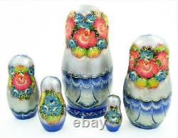 5 Poupées russes H18 exclusive Palekh peint main signé Matriochka Russians Dolls