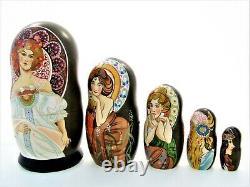 5 Poupées russes exclusive H18 Alfons Mucha Matriochka Russian Doll Matrioshka