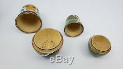 5 Russian Wood Nesting Dolls Handpainted Signed Matryoshka Babushka Gold 2007 8