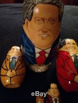 5 VINTAGE Mockba 1992 Russian hand painted Nesting Dolls signed artist Campvkob