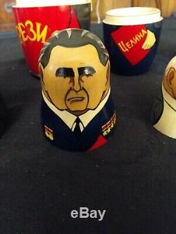 5 Vintage Handcrafted & Painted Made In Ussr (russian Lettering) Nesting Dolls