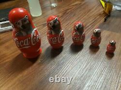 5-pc Traditional Russian Nesting Doll Coca Cola Polar bears Mocnche Rare