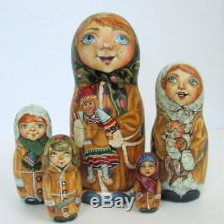 5p Handpainted Only one Russian Nesting Doll Girls with her Toys, Ivanova