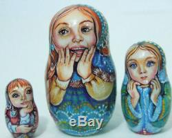 5p Handpainted Only one Russian Nesting Doll Girls with their goats, Chmelyova
