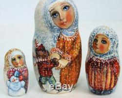 5p Handpainted Only one Russian Nesting Doll Russian Winter with All, Molotova